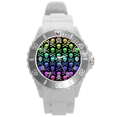 Rainbow Skull And Crossbones Pattern Plastic Sport Watch (large) by ArtistRoseanneJones