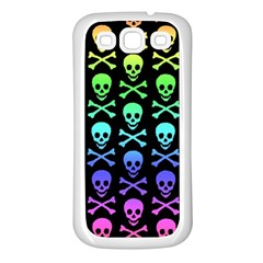 Rainbow Skull And Crossbones Pattern Samsung Galaxy S3 Back Case (white) by ArtistRoseanneJones