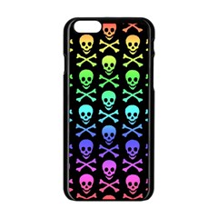 Rainbow Skull And Crossbones Pattern Apple Iphone 6 Black Enamel Case by ArtistRoseanneJones