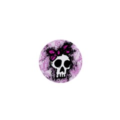 Sketched Skull Princess 1  Mini Button Magnet