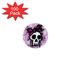 Sketched Skull Princess 1  Mini Button (100 Pack)