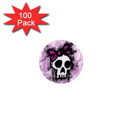 Sketched Skull Princess 1  Mini Button Magnet (100 pack)