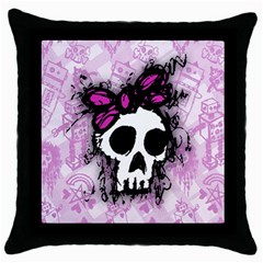 Sketched Skull Princess Black Throw Pillow Case