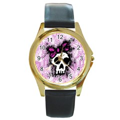 Sketched Skull Princess Round Leather Watch (Gold Rim)