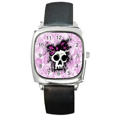 Sketched Skull Princess Square Leather Watch by ArtistRoseanneJones