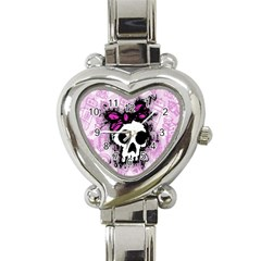 Sketched Skull Princess Heart Italian Charm Watch  by ArtistRoseanneJones