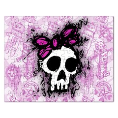 Sketched Skull Princess Jigsaw Puzzle (rectangle) by ArtistRoseanneJones