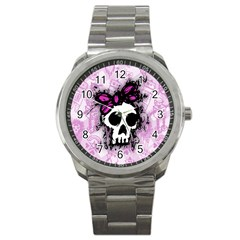 Sketched Skull Princess Sport Metal Watch by ArtistRoseanneJones