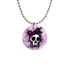 Sketched Skull Princess Button Necklace by ArtistRoseanneJones