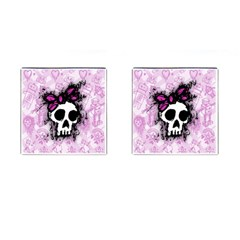 Sketched Skull Princess Cufflinks (square) by ArtistRoseanneJones