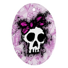 Sketched Skull Princess Oval Ornament (Two Sides)