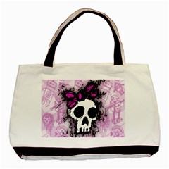 Sketched Skull Princess Twin-sided Black Tote Bag
