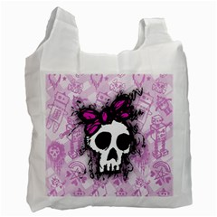 Sketched Skull Princess White Reusable Bag (Two Sides)