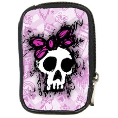 Sketched Skull Princess Compact Camera Leather Case
