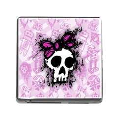 Sketched Skull Princess Memory Card Reader With Storage (square)