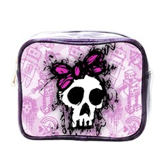 Sketched Skull Princess Mini Travel Toiletry Bag (One Side)