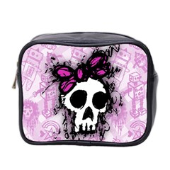 Sketched Skull Princess Mini Travel Toiletry Bag (Two Sides)