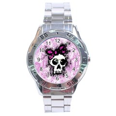 Sketched Skull Princess Stainless Steel Watch by ArtistRoseanneJones