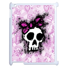 Sketched Skull Princess Apple Ipad 2 Case (white) by ArtistRoseanneJones
