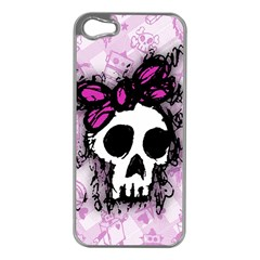 Sketched Skull Princess Apple iPhone 5 Case (Silver)