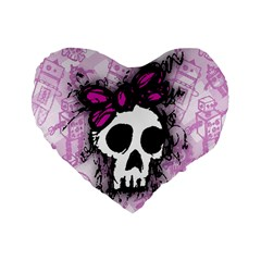 Sketched Skull Princess Standard 16  Premium Heart Shape Cushion