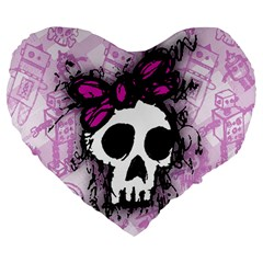 Sketched Skull Princess Large 19  Premium Heart Shape Cushion