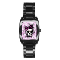 Sketched Skull Princess Stainless Steel Barrel Watch by ArtistRoseanneJones
