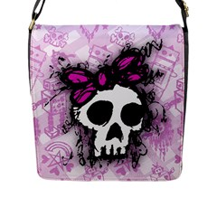Sketched Skull Princess Flap Closure Messenger Bag (l) by ArtistRoseanneJones