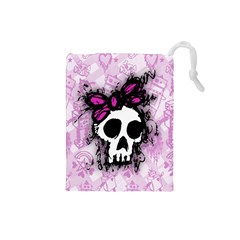 Sketched Skull Princess Drawstring Pouch (small) by ArtistRoseanneJones