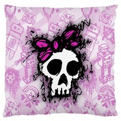 Sketched Skull Princess Large Flano Cushion Case (Two Sides)