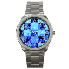 Blue Star Checkers Sport Metal Watch by ArtistRoseanneJones
