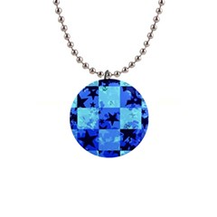 Blue Star Checkers Button Necklace