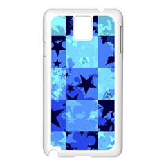 Blue Star Checkers Samsung Galaxy Note 3 N9005 Case (white) by ArtistRoseanneJones