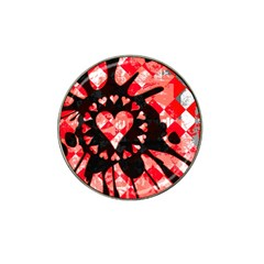 Love Heart Splatter Golf Ball Marker 4 Pack (for Hat Clip) by ArtistRoseanneJones