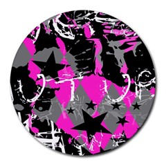 Pink Scene Kid 8  Mouse Pad (round) by ArtistRoseanneJones