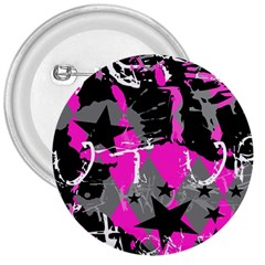 Pink Scene Kid 3  Button by ArtistRoseanneJones