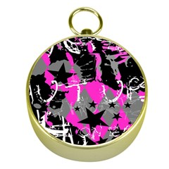 Pink Scene Kid Gold Compass by ArtistRoseanneJones