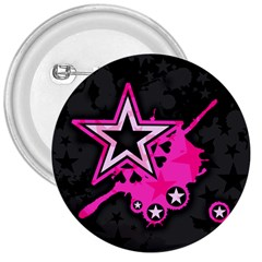 Pink Star Graphic 3  Button by ArtistRoseanneJones