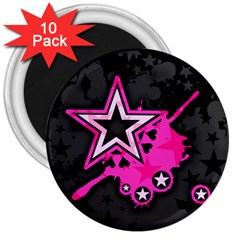 Pink Star Graphic 3  Button Magnet (10 Pack) by ArtistRoseanneJones