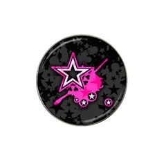 Pink Star Graphic Golf Ball Marker 4 Pack (for Hat Clip) by ArtistRoseanneJones