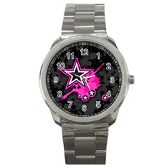 Pink Star Graphic Sport Metal Watch by ArtistRoseanneJones
