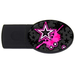 Pink Star Graphic 4gb Usb Flash Drive (oval) by ArtistRoseanneJones