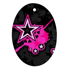 Pink Star Graphic Oval Ornament (two Sides) by ArtistRoseanneJones
