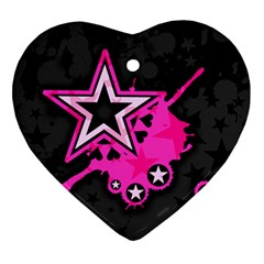 Pink Star Graphic Heart Ornament (two Sides) by ArtistRoseanneJones