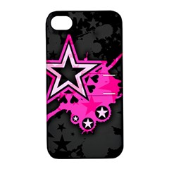 Pink Star Graphic Apple Iphone 4/4s Hardshell Case With Stand by ArtistRoseanneJones