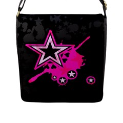 Pink Star Graphic Flap Closure Messenger Bag (l) by ArtistRoseanneJones