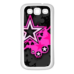 Pink Star Graphic Samsung Galaxy S3 Back Case (white) by ArtistRoseanneJones