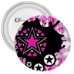 Pink Star Splatter 3  Button by ArtistRoseanneJones