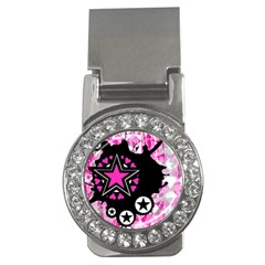 Pink Star Splatter Money Clip (cz)