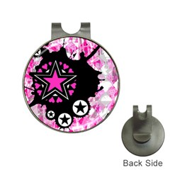 Pink Star Splatter Hat Clip With Golf Ball Marker by ArtistRoseanneJones